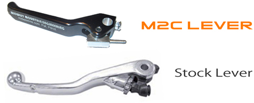 M2C Dirt Bike Clutch Lever comparison to OEM